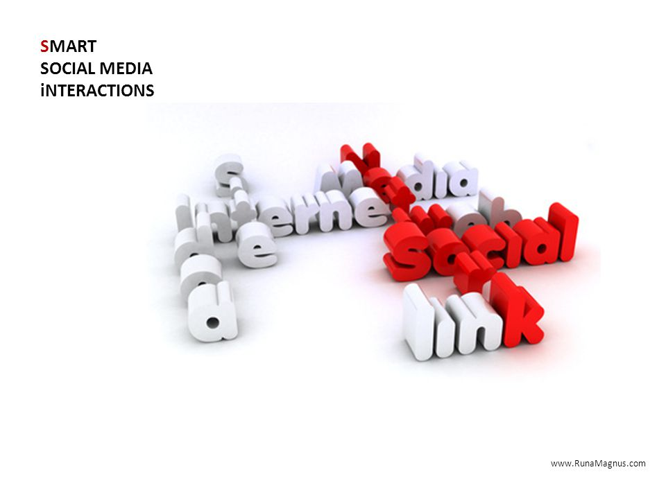 SMART SOCIAL MEDIA iNTERACTIONS Give more: 80/20 rule 20% self promotion 80% non-self promotion www.RunaMagnus.com