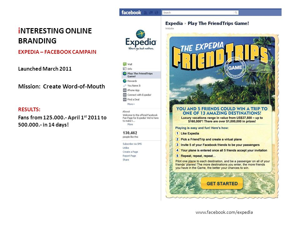 iNTERESTING ONLINE BRANDING EXPEDIA – FACEBOOK CAMPAIN Launched March 2011 Mission: Create Word-of-Mouth RESULTS: Fans from 125.000.- April 1 st 2011 to 500.000.- in 14 days.
