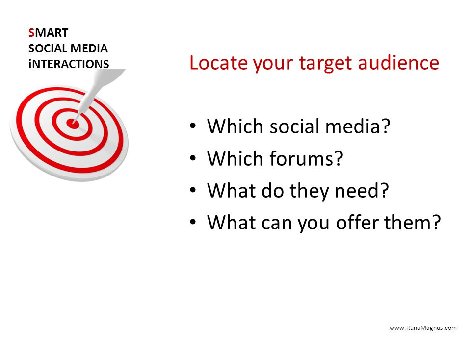 SMART SOCIAL MEDIA iNTERACTIONS Locate your target audience Which social media.