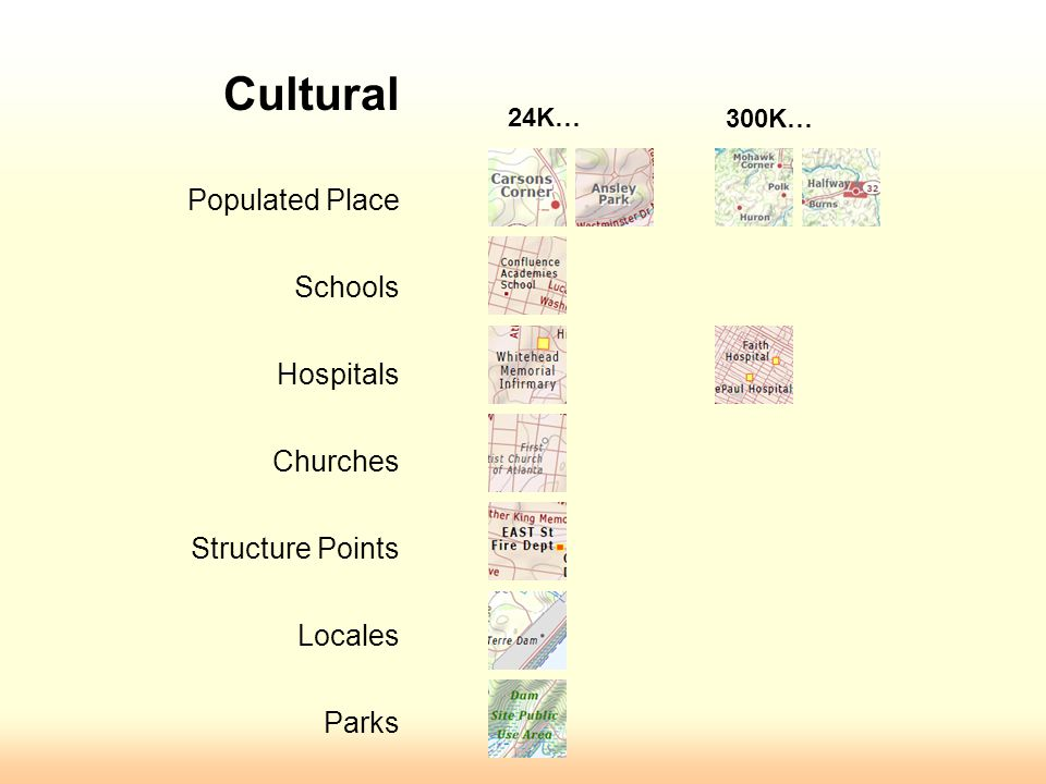 Cultural Populated Place Schools Hospitals Churches Structure Points Locales Parks 24K… 300K…