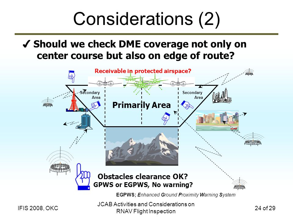 JCAB Activities and Considerations on RNAV Flight Inspection 24 of 29IFIS 2008, OKC Considerations (2) Should we check DME coverage not only on center course but also on edge of route.
