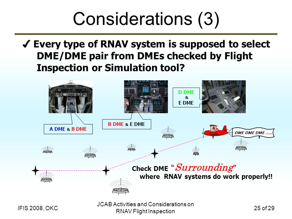 JCAB Activities and Considerations on RNAV Flight Inspection 25 of 29IFIS 2008, OKC Considerations (3) Every type of RNAV system is supposed to select DME/DME pair from DMEs checked by Flight Inspection or Simulation tool.