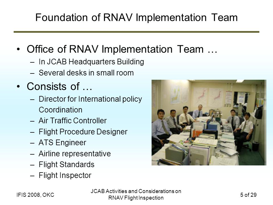 JCAB Activities and Considerations on RNAV Flight Inspection 5 of 29IFIS 2008, OKC Foundation of RNAV Implementation Team Office of RNAV Implementation Team … –In JCAB Headquarters Building –Several desks in small room Consists of … –Director for International policy Coordination –Air Traffic Controller –Flight Procedure Designer –ATS Engineer –Airline representative –Flight Standards –Flight Inspector