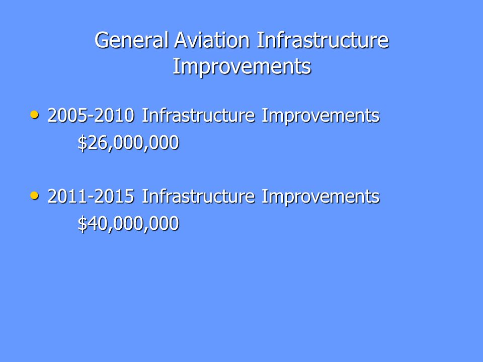 General Aviation Infrastructure Improvements 2005-2010 Infrastructure Improvements 2005-2010 Infrastructure Improvements$26,000,000 2011-2015 Infrastructure Improvements 2011-2015 Infrastructure Improvements$40,000,000