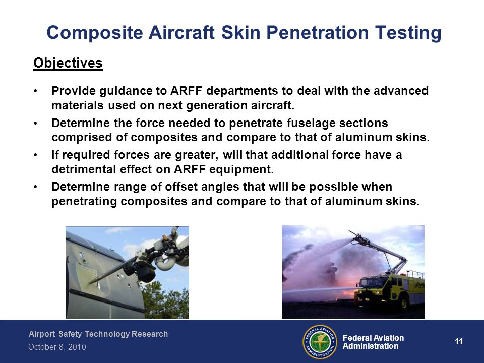 Airport Safety Technology Research 11 Federal Aviation Administration October 8, 2010 Composite Aircraft Skin Penetration Testing Objectives Provide g