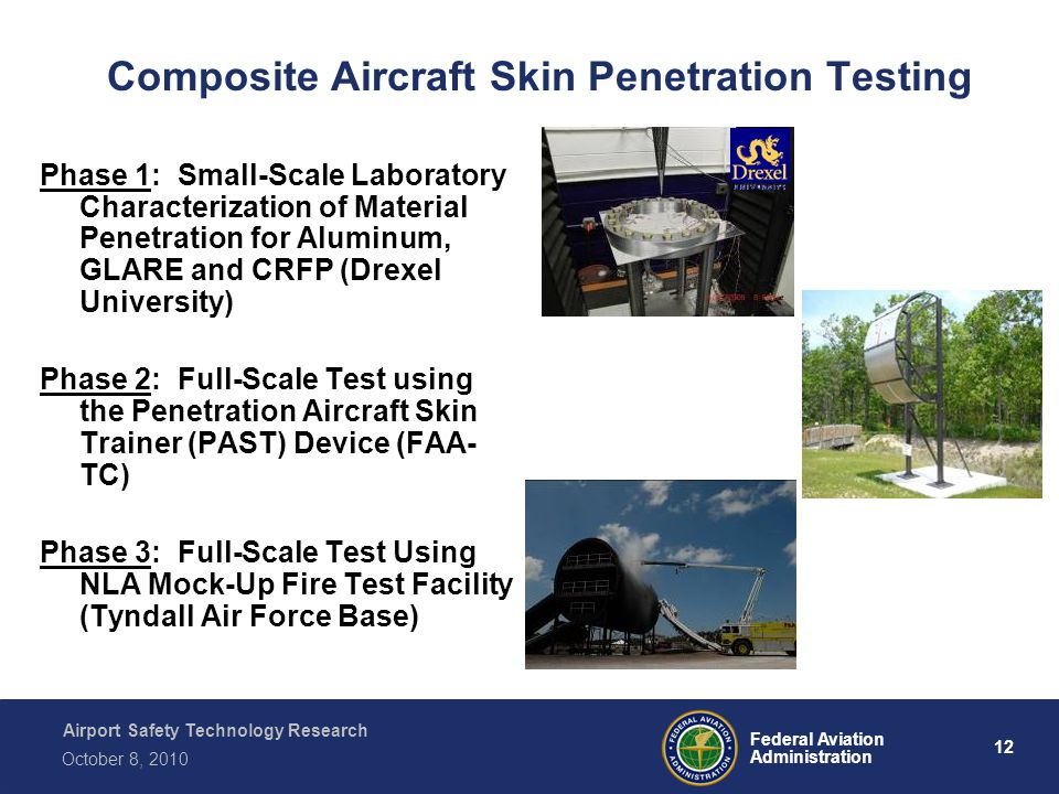 Airport Safety Technology Research 12 Federal Aviation Administration October 8, 2010 Composite Aircraft Skin Penetration Testing Phase 1: Small-Scale