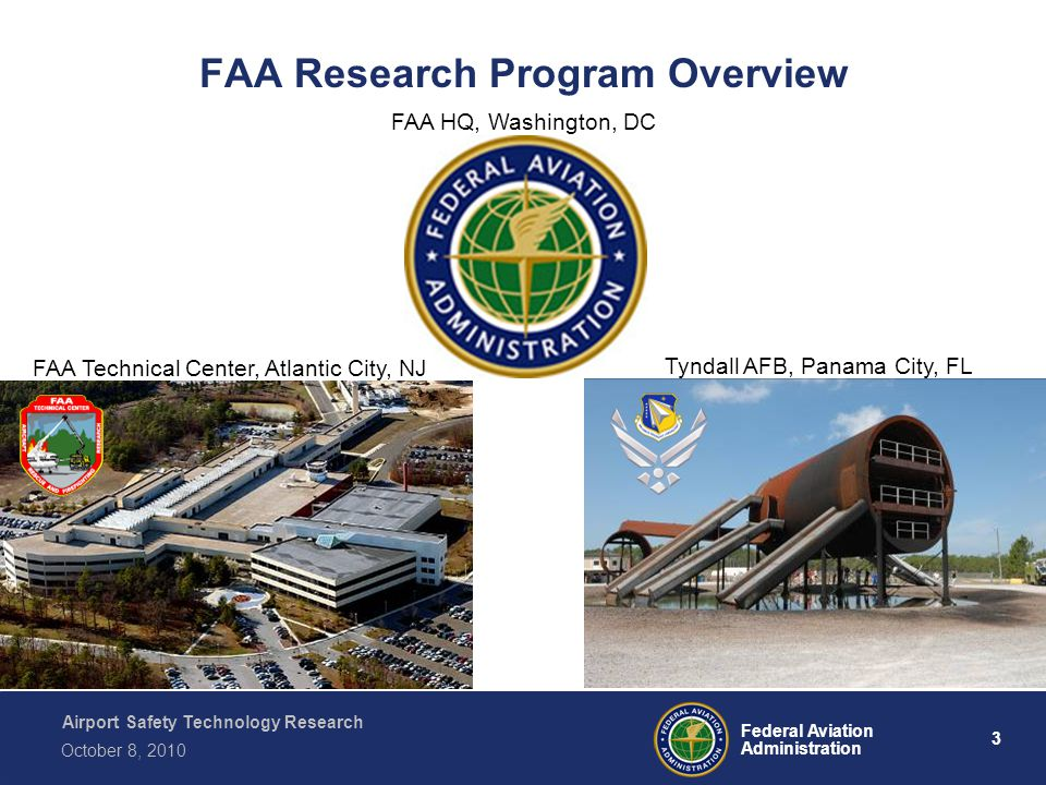 Airport Safety Technology Research 3 Federal Aviation Administration October 8, 2010 FAA Research Program Overview FAA Technical Center, Atlantic City