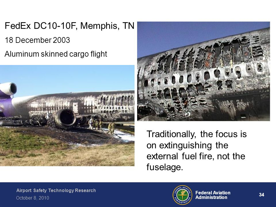 Airport Safety Technology Research 34 Federal Aviation Administration October 8, 2010 FedEx DC10-10F, Memphis, TN 18 December 2003 Aluminum skinned cargo flight Traditionally, the focus is on extinguishing the external fuel fire, not the fuselage.
