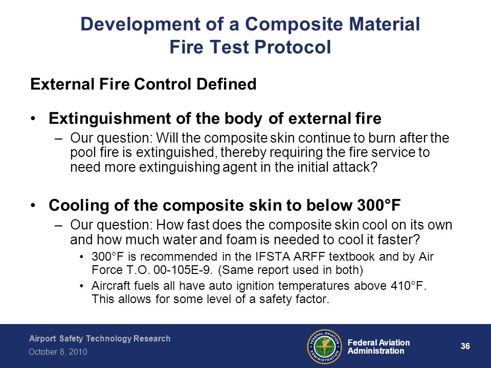 Airport Safety Technology Research 36 Federal Aviation Administration October 8, 2010 Development of a Composite Material Fire Test Protocol External Fire Control Defined Extinguishment of the body of external fire –Our question: Will the composite skin continue to burn after the pool fire is extinguished, thereby requiring the fire service to need more extinguishing agent in the initial attack.
