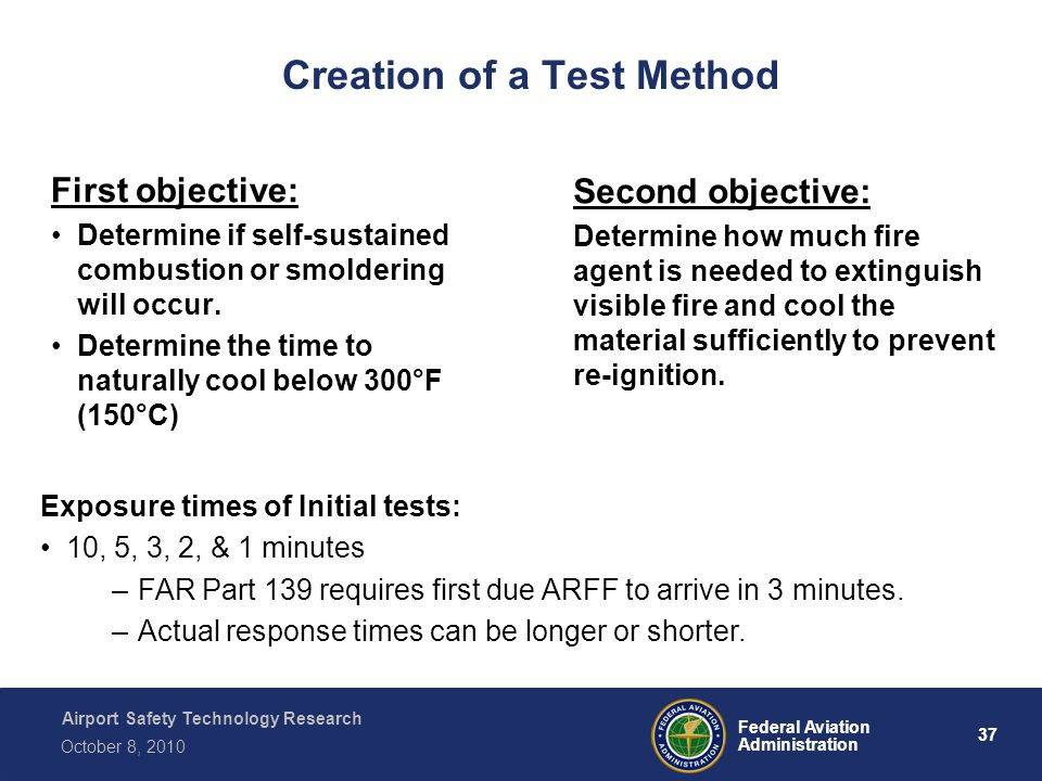 Airport Safety Technology Research 37 Federal Aviation Administration October 8, 2010 Creation of a Test Method First objective: Determine if self-sustained combustion or smoldering will occur.