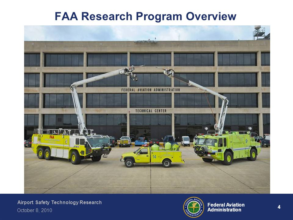 Airport Safety Technology Research 4 Federal Aviation Administration October 8, 2010 FAA Research Program Overview