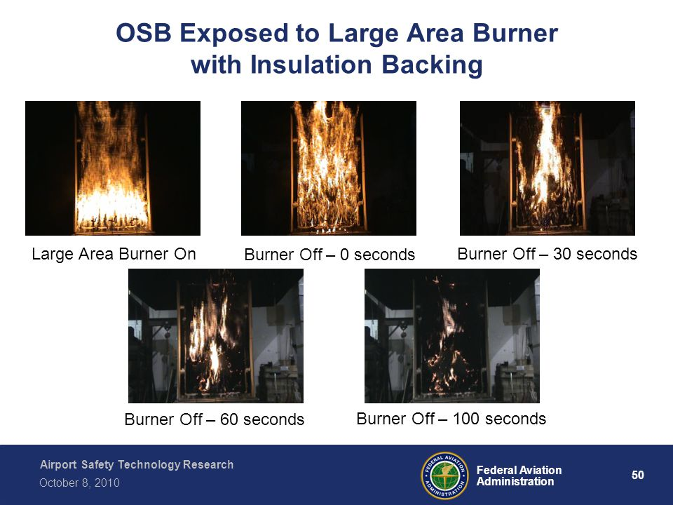Airport Safety Technology Research 50 Federal Aviation Administration October 8, 2010 Large Area Burner On Burner Off – 0 seconds Burner Off – 30 seconds Burner Off – 60 seconds Burner Off – 100 seconds OSB Exposed to Large Area Burner with Insulation Backing