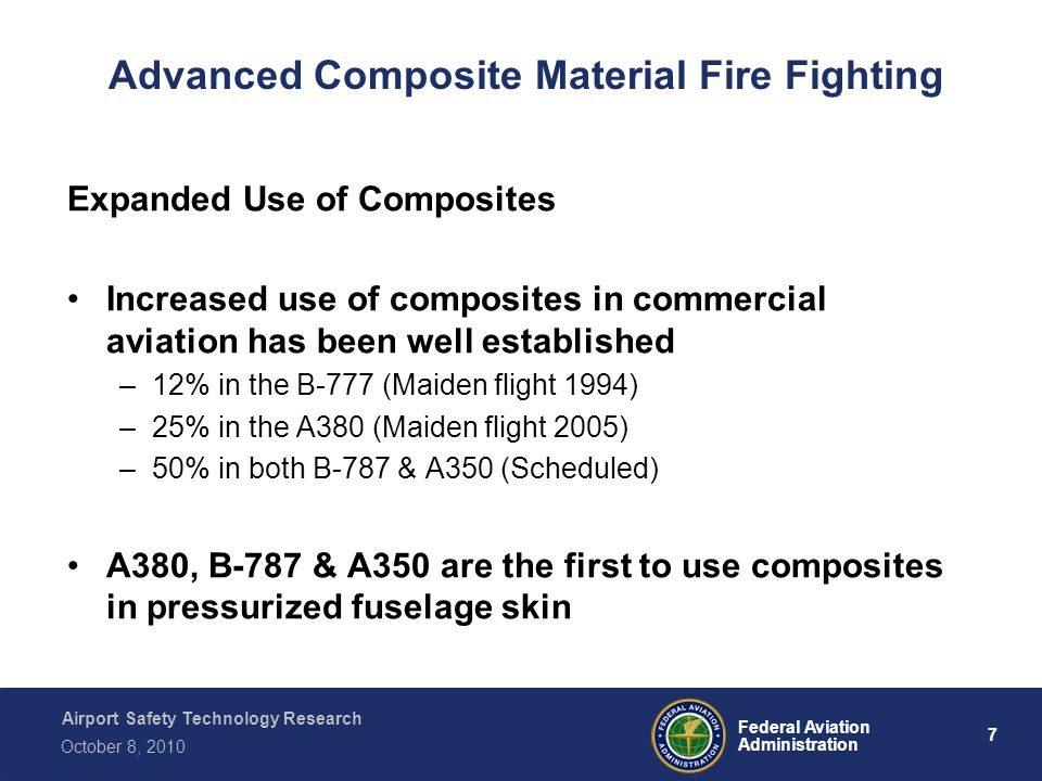 Airport Safety Technology Research 7 Federal Aviation Administration October 8, 2010 Advanced Composite Material Fire Fighting Expanded Use of Composi