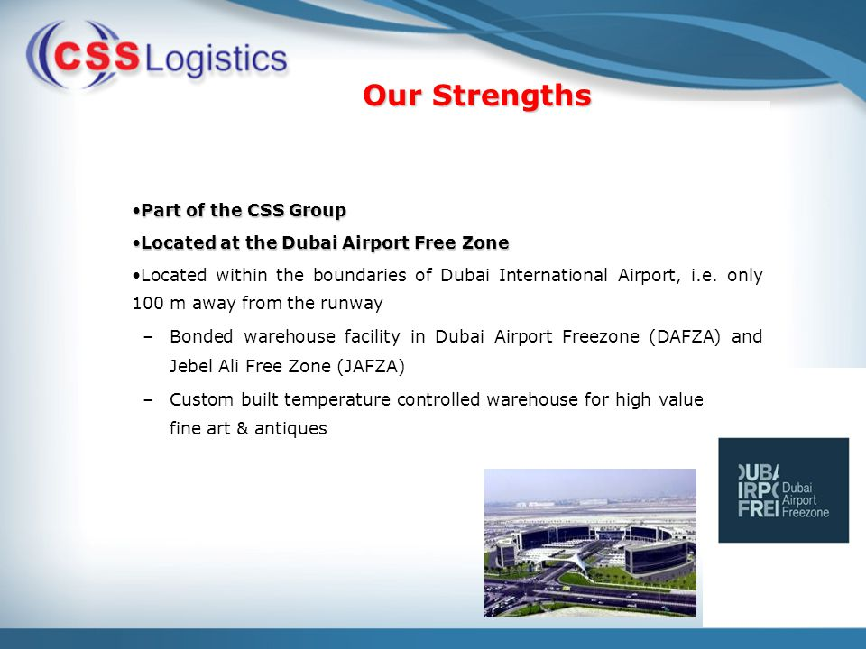 Complete Air & Ocean Freight Management International land freight and air charter services Projects handling Supply Chain and Contract Logistics Multimodal Operations (Sea - Air, Sea - Land Management) Specialty goods handling facilities Specialized in handling fine arts & exhibition cargo Cargo General Sales Agent in the UAE for Ariana Afghan Airlines Services Offered