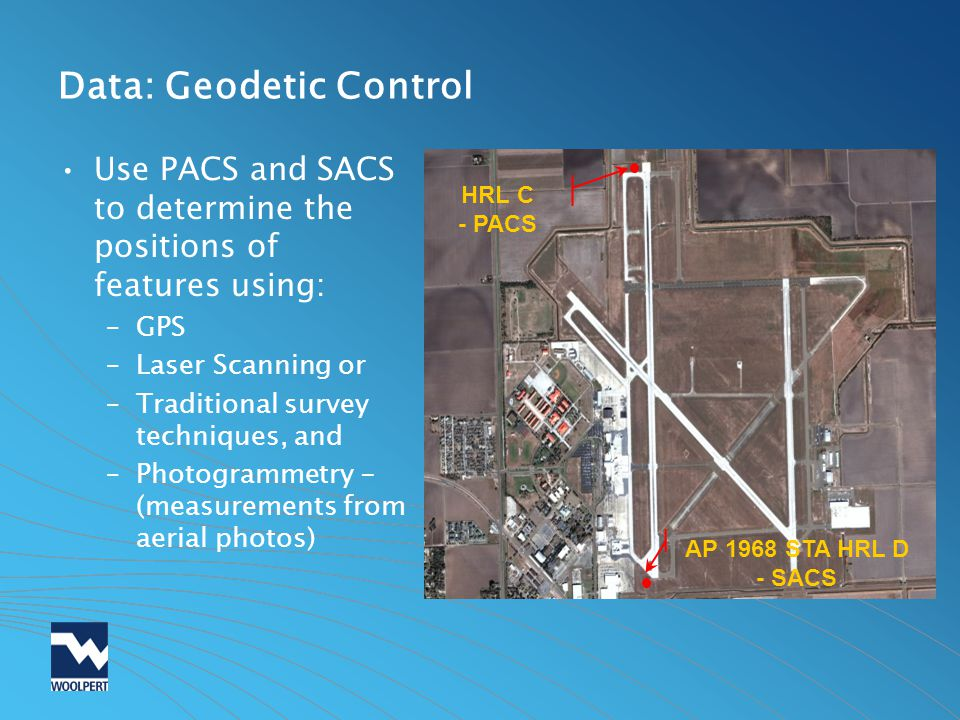 Data: Geodetic Control Use PACS and SACS to determine the positions of features using: –GPS –Laser Scanning or –Traditional survey techniques, and –Ph