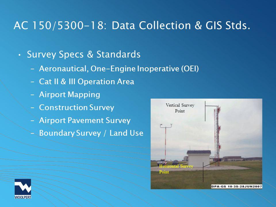AC 150/5300-18: Data Collection & GIS Stds. Survey Specs & Standards –Aeronautical, One-Engine Inoperative (OEI) –Cat II & III Operation Area –Airport