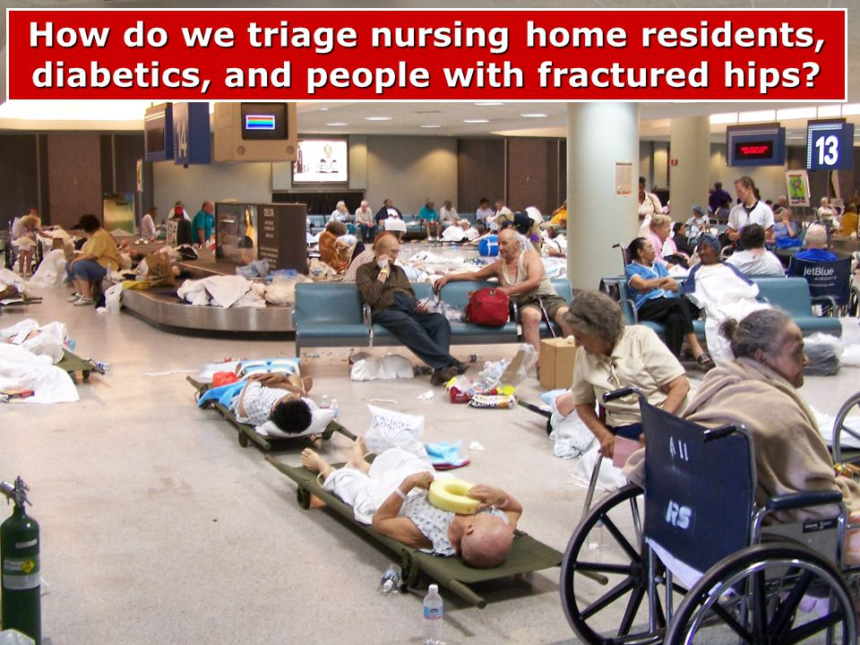 How do we triage nursing home residents, diabetics, and people with fractured hips