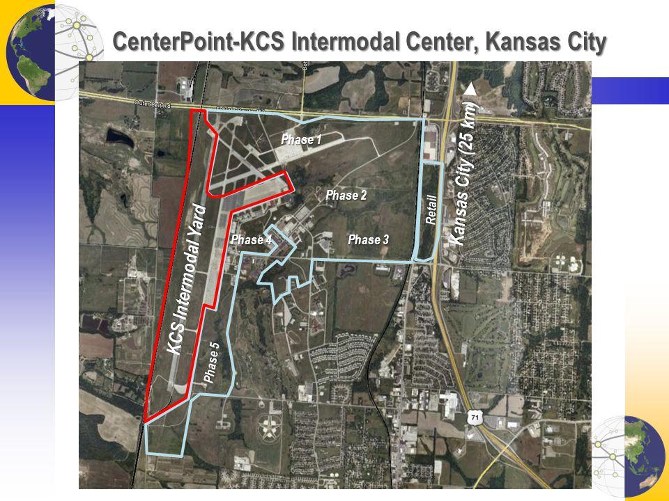CenterPoint-KCS Intermodal Center, Kansas City KCS Intermodal Yard Retail Phase 1 Phase 2 Phase 3 Phase 4 Phase 5 Kansas City (25 km) Kansas City (25 km)