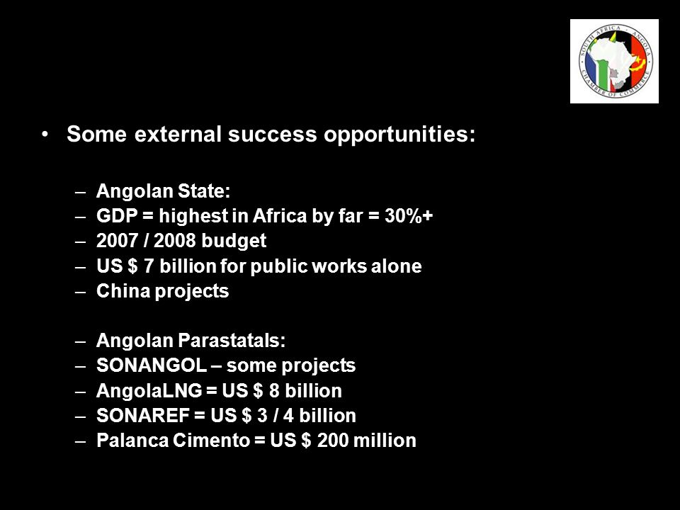 The South Africa – Angola Chamber of Commerce: Speaks for Angola-related business Gives you a voice Promotes Angola-related business knowledge and business leads Facilitates visas and work permits Provides translation and interpreting services Facilitates accommodation and transport Participates in shows and exhibitions on your behalf Mentors SMMEs and BEEs Mediates