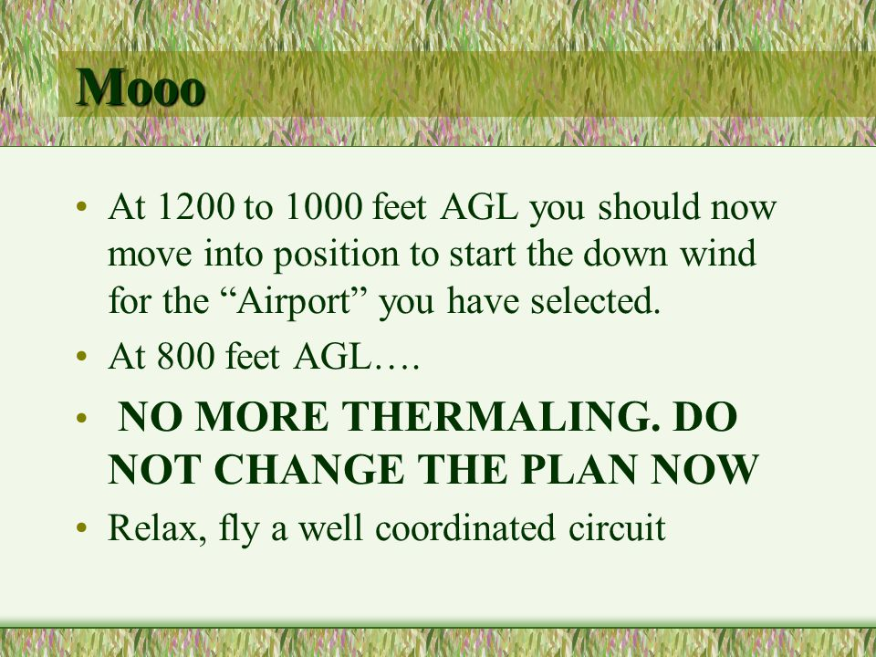Mooo At 1200 to 1000 feet AGL you should now move into position to start the down wind for the Airport you have selected. At 800 feet AGL…. NO MORE TH
