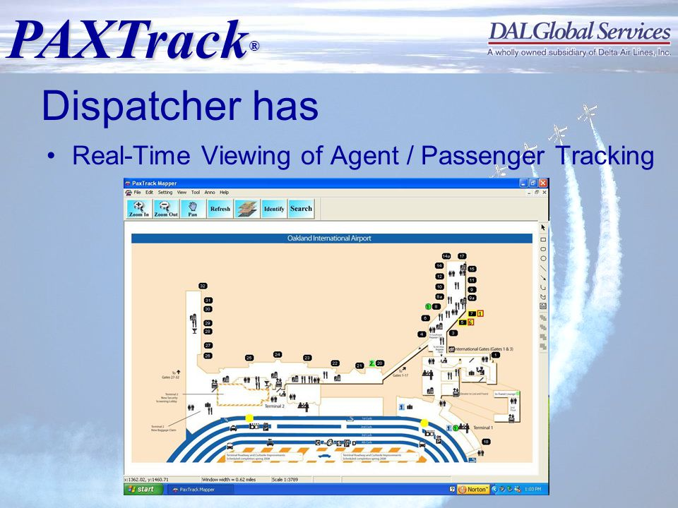 PAXTrack ® Copyrighted © 2008 DALGlobal Services, LLC Dispatcher has Real-Time Viewing of Agent / Passenger Tracking