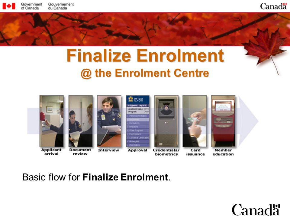 Basic flow for Finalize Enrolment. Finalize Enrolment @ the Enrolment Centre