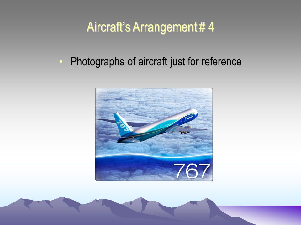 Aircrafts Arrangement # 4 Photographs of aircraft just for reference