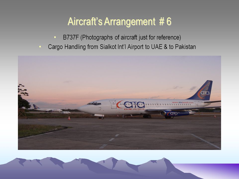 Aircrafts Arrangement # 6 B737F (Photographs of aircraft just for reference) Cargo Handling from Sialkot Intl Airport to UAE & to Pakistan