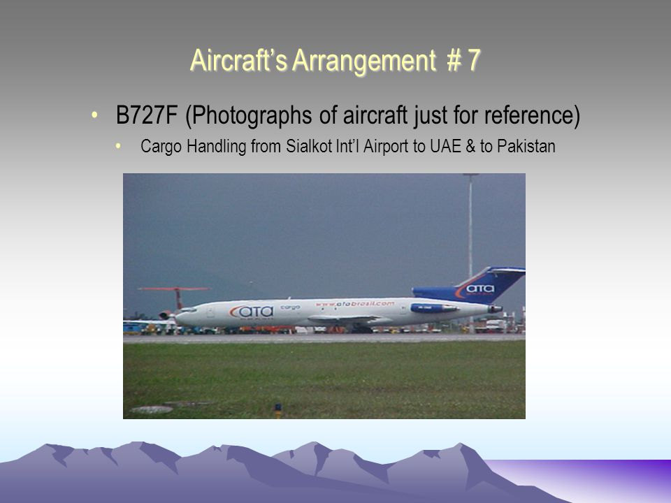 Aircrafts Arrangement # 7 B727F (Photographs of aircraft just for reference) Cargo Handling from Sialkot Intl Airport to UAE & to Pakistan