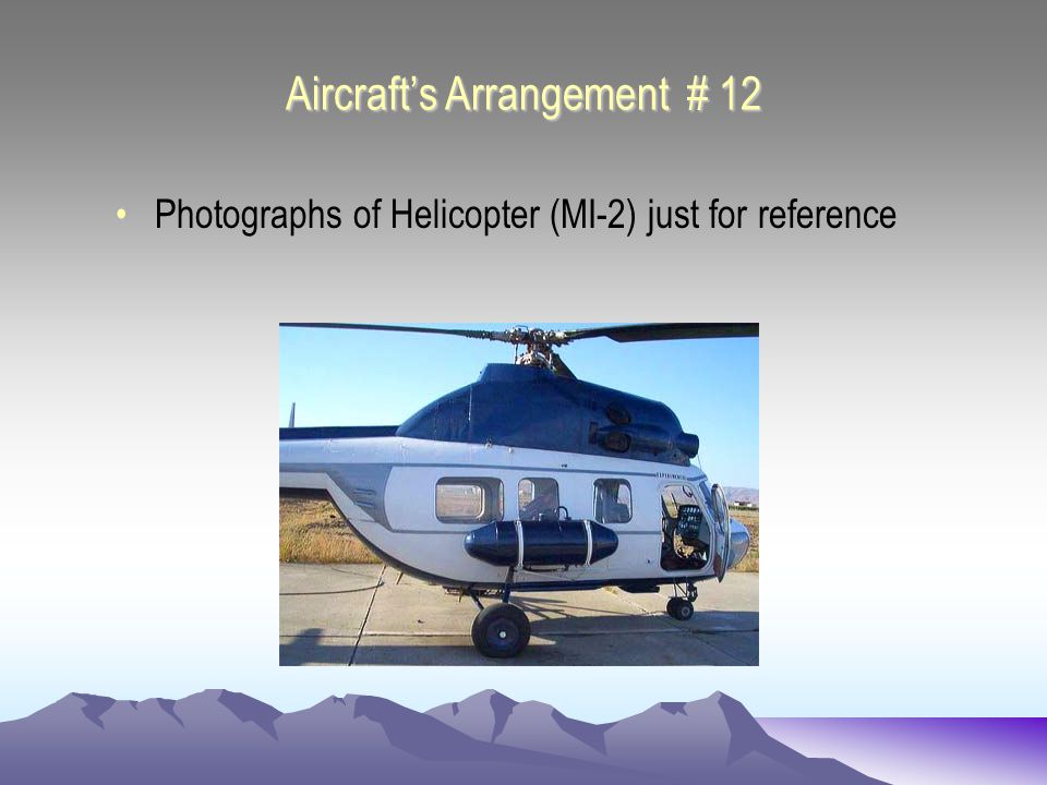 Aircrafts Arrangement # 13 Photographs of Helicopter (MI-2) just for reference