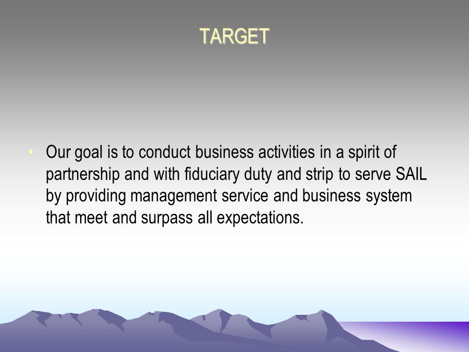 TARGET Our goal is to conduct business activities in a spirit of partnership and with fiduciary duty and strip to serve SAIL by providing management service and business system that meet and surpass all expectations.