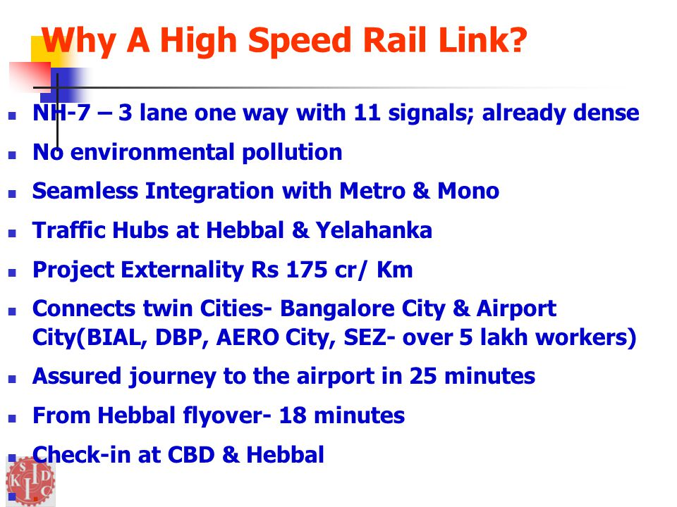 Why A High Speed Rail Link.