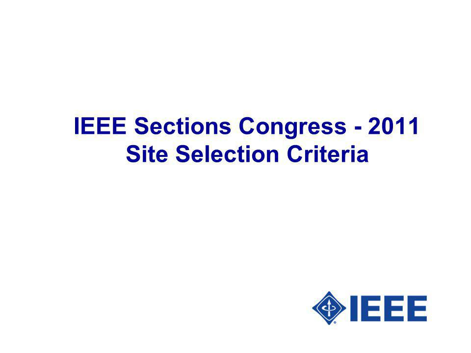 IEEE Sections Congress Site Selection Criteria