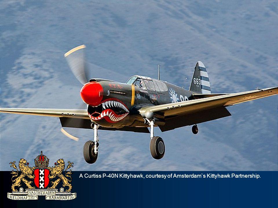 A Curtiss P-40N Kittyhawk, courtesy of Amsterdam`s Kittyhawk Partnership.