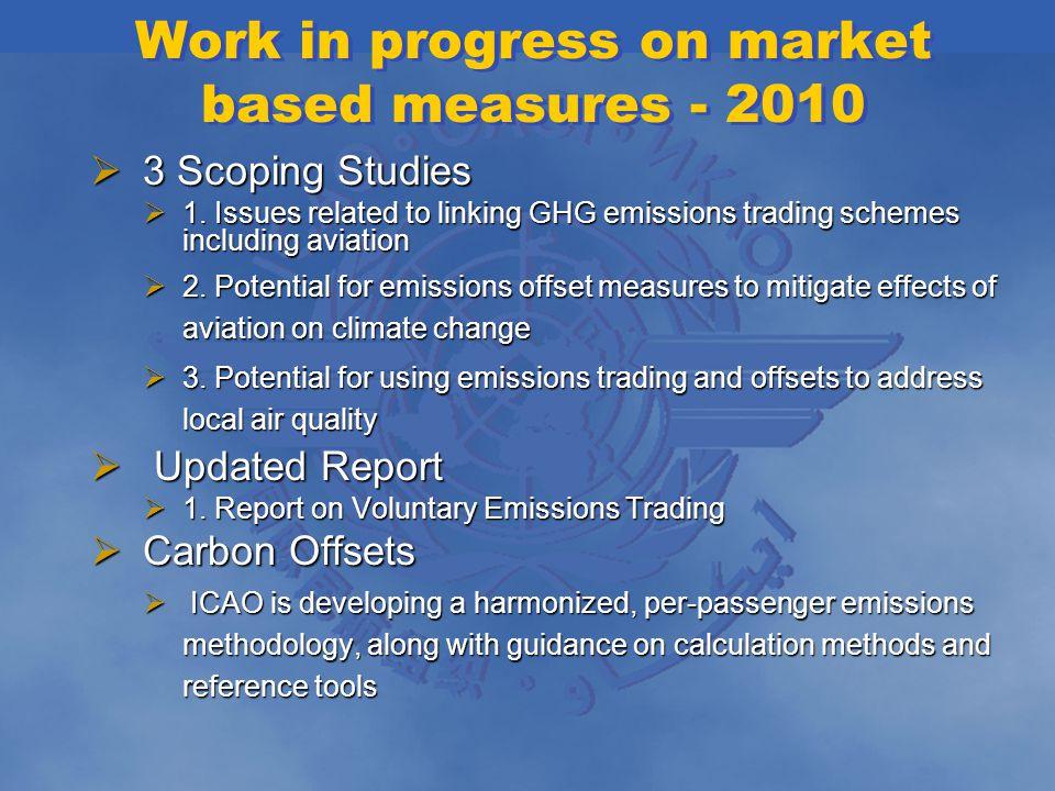 Work in progress on market based measures - 2010 3 Scoping Studies 3 Scoping Studies 1.