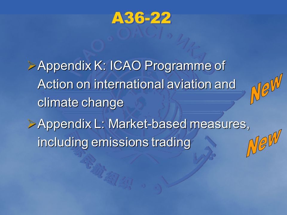 A36-22 Appendix K: ICAO Programme of Action on international aviation and climate change Appendix K: ICAO Programme of Action on international aviation and climate change Appendix L: Market-based measures, including emissions trading Appendix L: Market-based measures, including emissions trading