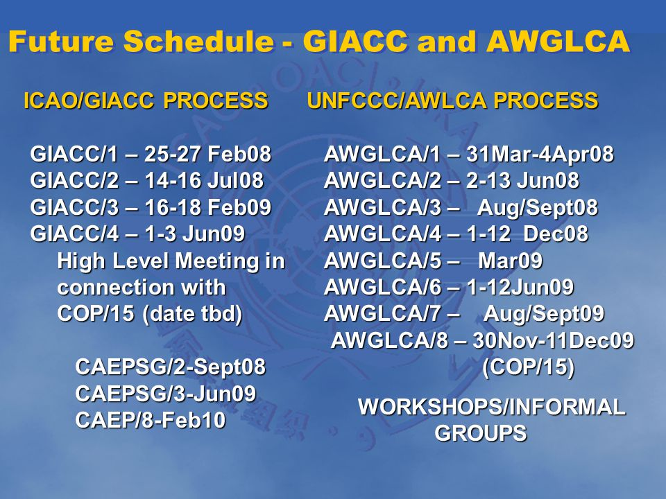 Future Schedule - GIACC and AWGLCA ICAO/GIACC PROCESS GIACC/1 – 25-27 Feb08 GIACC/1 – 25-27 Feb08 GIACC/2 – 14-16 Jul08 GIACC/2 – 14-16 Jul08 GIACC/3 – 16-18 Feb09 GIACC/3 – 16-18 Feb09 GIACC/4 – 1-3 Jun09 GIACC/4 – 1-3 Jun09 High Level Meeting in connection with COP/15 (date tbd) CAEPSG/2-Sept08 CAEPSG/2-Sept08 CAEPSG/3-Jun09 CAEPSG/3-Jun09 CAEP/8-Feb10 CAEP/8-Feb10 UNFCCC/AWLCA PROCESS AWGLCA/1 – 31Mar-4Apr08 AWGLCA/1 – 31Mar-4Apr08 AWGLCA/2 – 2-13 Jun08 AWGLCA/2 – 2-13 Jun08 AWGLCA/3 – Aug/Sept08 AWGLCA/3 – Aug/Sept08 AWGLCA/4 – 1-12 Dec08 AWGLCA/4 – 1-12 Dec08 AWGLCA/5 – Mar09 AWGLCA/5 – Mar09 AWGLCA/6 – 1-12Jun09 AWGLCA/7 – Aug/Sept09 AWGLCA/6 – 1-12Jun09 AWGLCA/7 – Aug/Sept09 AWGLCA/8 – 30Nov-11Dec09 (COP/15) WORKSHOPS/INFORMAL GROUPS WORKSHOPS/INFORMAL GROUPS