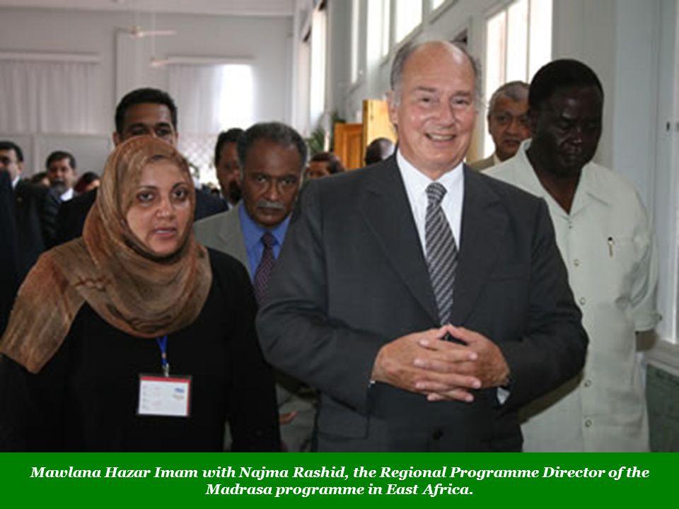 Mawlana Hazar Imam with Najma Rashid, the Regional Programme Director of the Madrasa programme in East Africa.