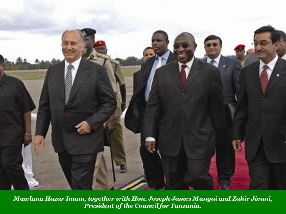 Mawlana Hazar Imam, together with Hon. Joseph James Mungai and Zahir Jivani, President of the Council for Tanzania.