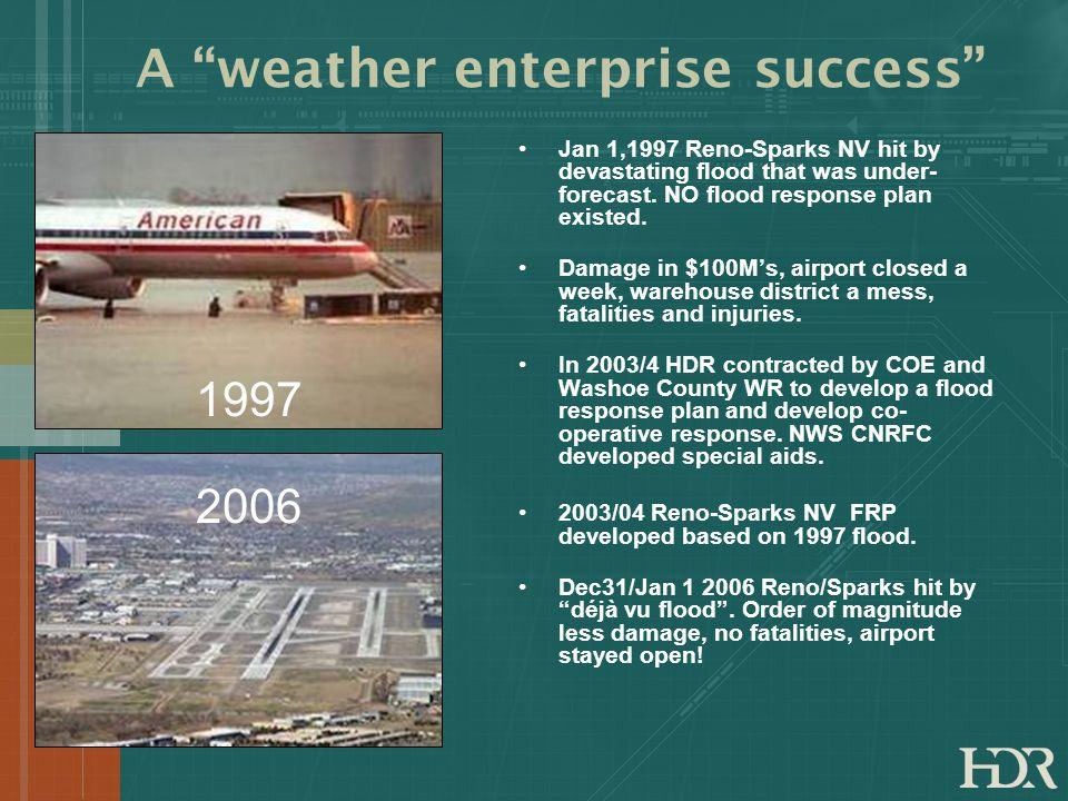 A weather enterprise success Jan 1,1997 Reno-Sparks NV hit by devastating flood that was under- forecast. NO flood response plan existed. Damage in $1