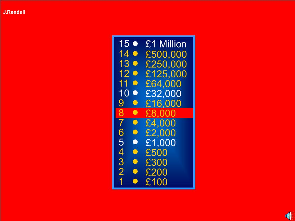 J.Rendell A: M5 C: M4 B: M25 D: M6 50:50 15 14 13 12 11 10 9 8 7 6 5 4 3 2 1 £1 Million £500,000 £250,000 £125,000 £64,000 £32,000 £16,000 £8,000 £4,000 £2,000 £1,000 £500 £300 £200 £100 Which of these motorways links Birmingham and Carlisle