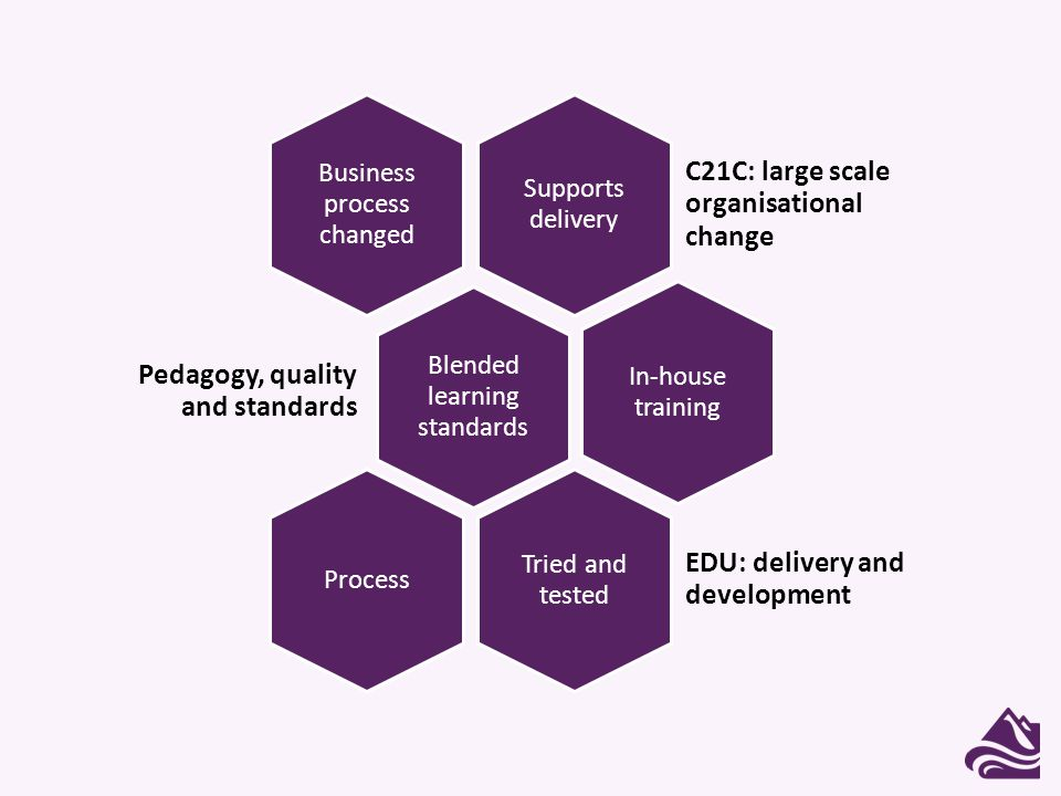 Supports delivery C21C: large scale organisational change Business process changed Blended learning standards Pedagogy, quality and standards In-house training Tried and tested EDU: delivery and development Process
