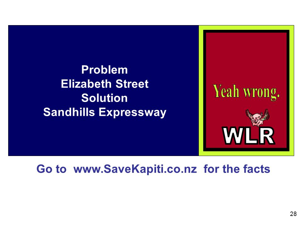Go to www.SaveKapiti.co.nz for the facts 28 Problem Elizabeth Street Solution Sandhills Expressway