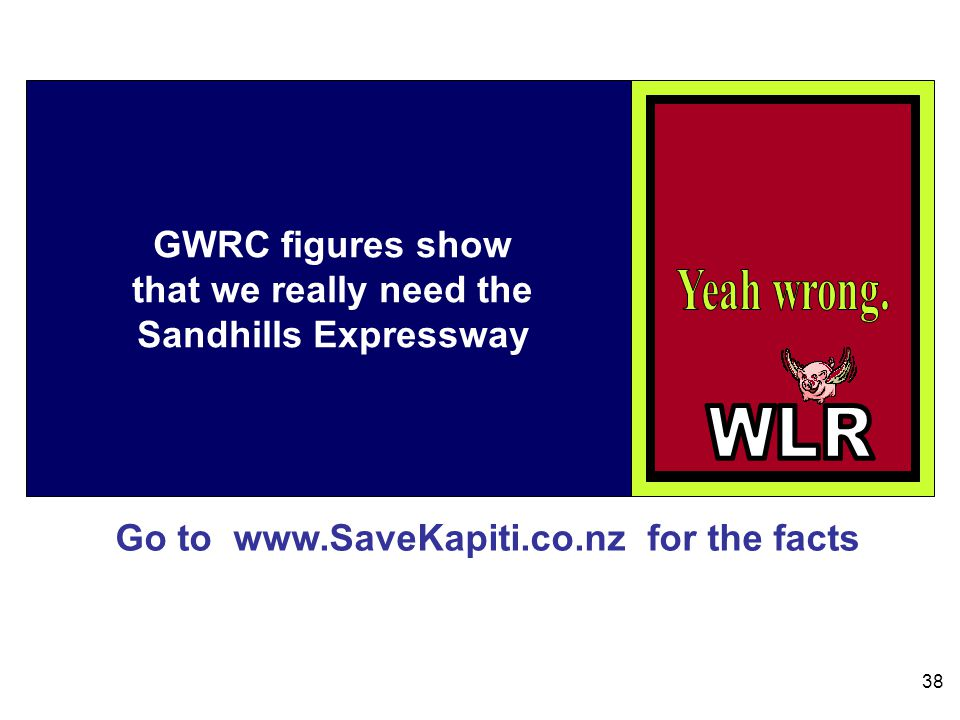 Go to www.SaveKapiti.co.nz for the facts 38 GWRC figures show that we really need the Sandhills Expressway