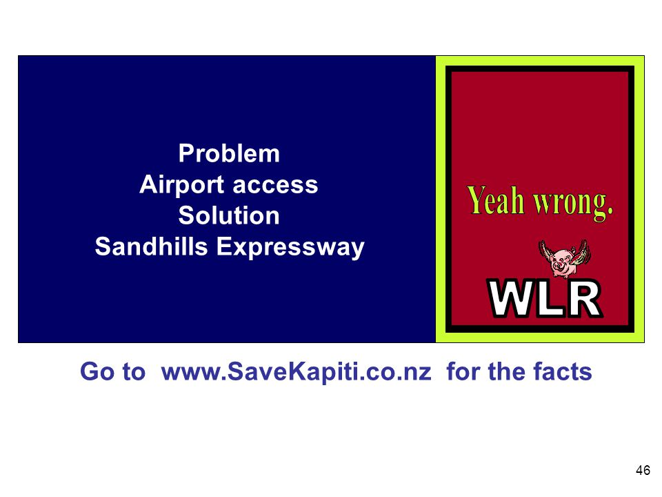 Go to www.SaveKapiti.co.nz for the facts 46 Problem Airport access Solution Sandhills Expressway
