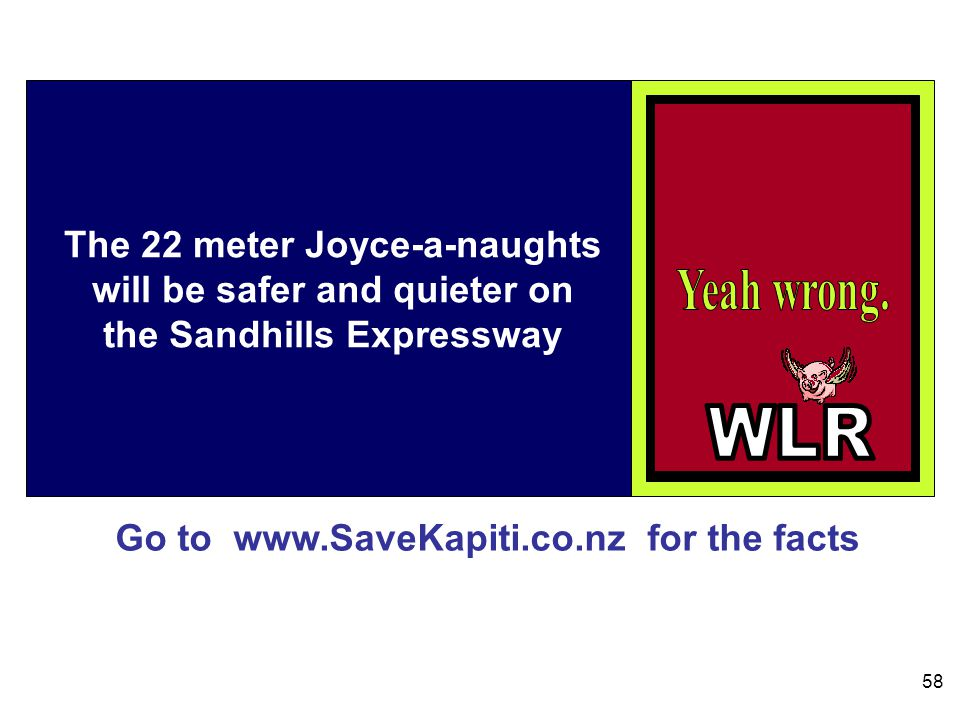Go to www.SaveKapiti.co.nz for the facts 58 The 22 meter Joyce-a-naughts will be safer and quieter on the Sandhills Expressway