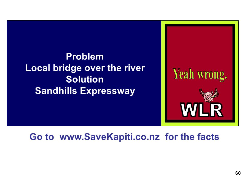 Go to www.SaveKapiti.co.nz for the facts 60 Problem Local bridge over the river Solution Sandhills Expressway