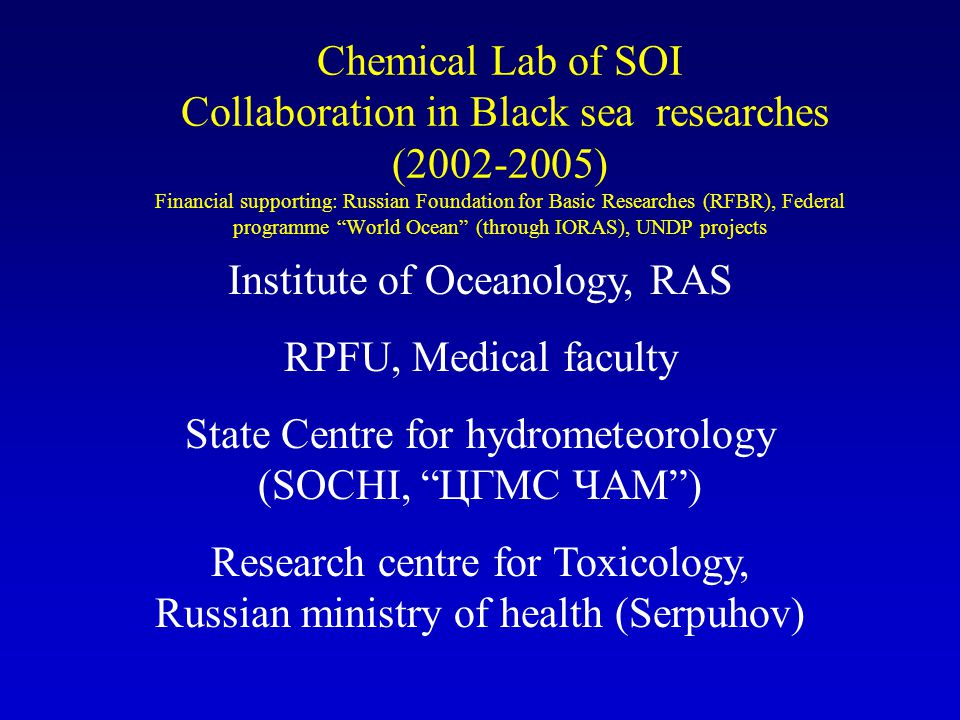 Chemical Lab of SOI Collaboration in Black sea researches (2002-2005) Financial supporting: Russian Foundation for Basic Researches (RFBR), Federal programme World Ocean (through IORAS), UNDP projects Institute of Oceanology, RAS RPFU, Medical faculty State Centre for hydrometeorology (SOCHI, ЦГМС ЧАМ) Research centre for Toxicology, Russian ministry of health (Serpuhov)