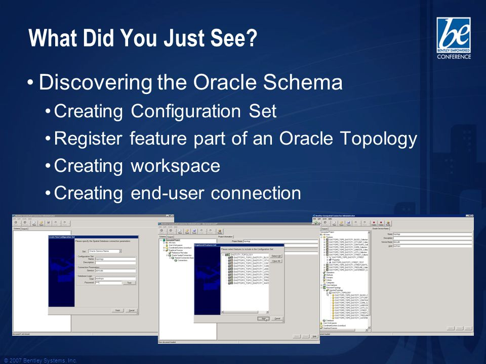 What Did You Just See? Discovering the Oracle Schema Creating Configuration Set Register feature part of an Oracle Topology Creating workspace Creatin