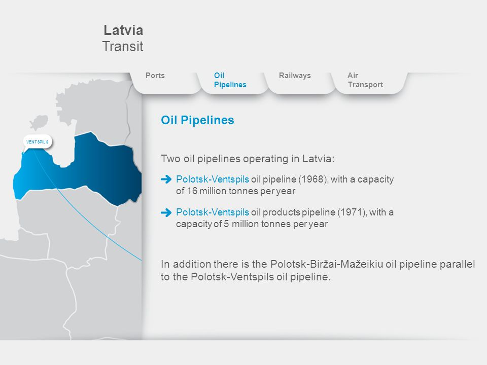 Latvia Transit Oil Pipelines Two oil pipelines operating in Latvia: Polotsk-Ventspils oil pipeline (1968), with a capacity of 16 million tonnes per year Polotsk-Ventspils oil products pipeline (1971), with a capacity of 5 million tonnes per year In addition there is the Polotsk-Biržai-Mažeikiu oil pipeline parallel to the Polotsk-Ventspils oil pipeline.